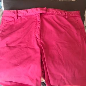 Right pink Lady Hagen golf shorts